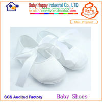 2014 top white baby dress shoes satin baby shoes