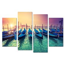 Venice Scenery Picture Printing/Boat on Sea Canvas Print Art/Ssunrise Landscape Wall Art