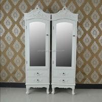 European drawer armoire wood wardrobe 1 mirror door cabinet bedroom boudoir armoire bedside cabinet design ivory storage