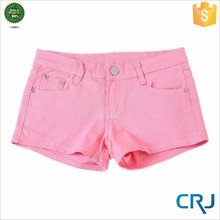 Women's Solid Color Ultra Stretch Fitted Low Rise Moleton Denim Wholesale Booty Shorts