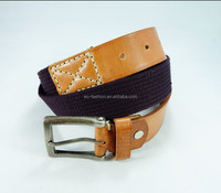 Fashionable Custom Mens Canvas Belt with Full Grain Leather Belt