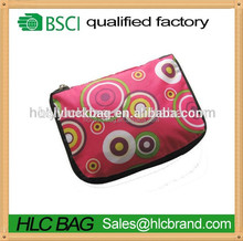 190T Polyester folding reusable shopping bag with zipper