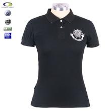 2015 black embroidery ladies korean fashion polo t shirt factory