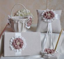 2015 new design linen flower wedding guest book and pen sets handmade innovative elegance wedding guest book bridal ring pillow