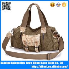 High quality Crazy horse leather and canvas shoulder vintage travel duffel bag with long strap
