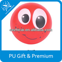 Promotional advertising product for children smiley face bouncy foam pu stress ball toys top quality