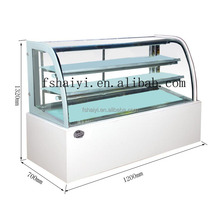 Marble base or stainless steel base glasses display showcase for cake