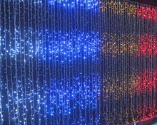 cheap LED multi color christmas decorative stage solar waterfall curtain light wholesale