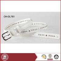 2014 fashion white beaded PU belt /cheap belt