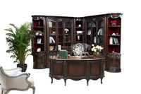 French Classic Vintage Executive Office Desk, Noble French Writing Desk Made of Solid Wood and Marquetry BF11-09192c