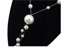 Fashion long pearl sweater necklace made with swarovski pearl for fashion lady