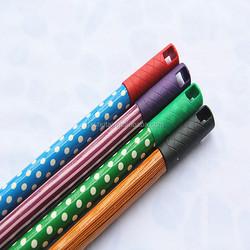Cheap Eucalyptus broom stick, stripy wood broom handle for hot sale