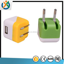Colorful foldable EURO plug usb wall charger for samsung galaxy S5 S4 S3
