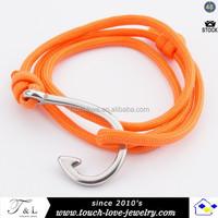new arrival leathet jewelry fish hook bracelet