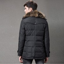 hot lighweight warm fur collar black man winter down jacket