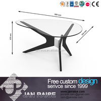 Glass top MDF frame black painting finished wood coffee table