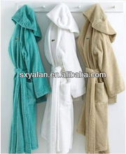100%cotton hooded hotel bathrobes with velour, microfiber,terry material
