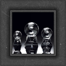 New design k9 crystal globe with triangle base trophy for company anniversity gift&prize