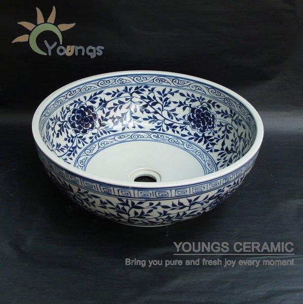 jingdezhen handbemalt blaue wei er keramik waschbecken badezimmer waschbecken bad eitelkeiten. Black Bedroom Furniture Sets. Home Design Ideas
