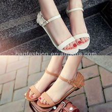 New 2013 Flat Heel Sandals Women's Flower Rubber Peep Toe Flat Sandal Shoes Flip-Flop Slippers