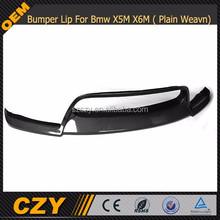 V Type Carbon Fiber Front Bumper Lip Spoiler For Bmw X5M X6M 2010+ ( Plain Weavn Carbon)