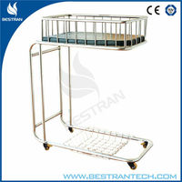 China BT-AB107 Stainless steel hospital iron baby cradles infant cot Paediatric cradle bed baby bassinet