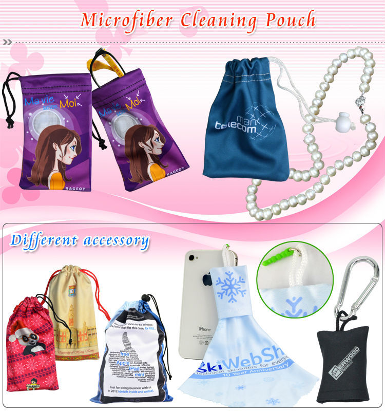 HBD325 Any size and screen printed microfiber cleaning bags accoring to customized design