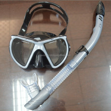 China supplier semi dry snorkeling mask set made by high quality soft silicone and A standard PC, deal for adult