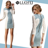 long sleeve white lace contrasting blue cotton chambray fashion American apparel for women
