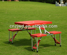 Camping plastic folding table/plastic with four person seat