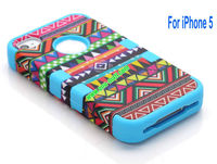 Wholesale Defender Tribe Case 3 in One Protective PC + Silicone Front and Back Aztec Cover for iPhone5( Baby Blue)