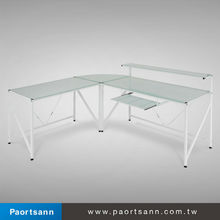 modern white high gloss glass steel 2 person office desk / computer table