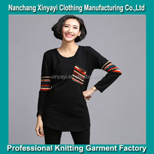 2015 women black fashion long sleeve t shirt / high quality and cheap price from China
