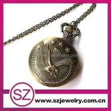 eagle design pocket watch with chain quartz movement arabic numerals half hunter vintage design eagle pocket watch