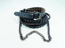 OEM custom woman pure leather belt with rivet