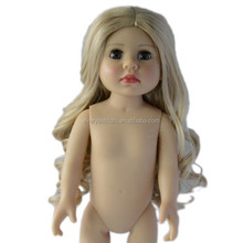 18'' doll wig/blond doll wigs/long curly human hair doll wigs
