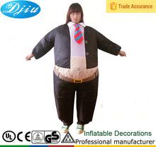 DJ-CO-113 Adult Business Suit part black Inflatable Blow Up Full Body Costume Jumpsuit