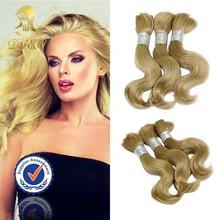 China factory supplier blonde human hair bulk,brazilian bulk hair extensions without weft