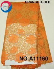 beaded tulle fabric african french net lace of a11160 orange