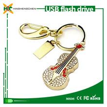 32GB Crystal USB Flash Drive- gold Guitar Shape fashion design usb