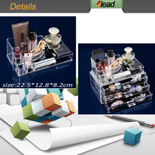 clear acrylic 3 drawers cosmetic & makeup desk organizer with lid top