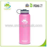 Wide Mouth 40 Ounce Hydro Flask Insulated Stainless Steel Water Bottle with Straw Lid