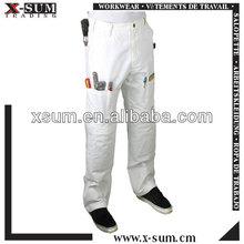 multi de algodón blanco bolsillo pantalones pintor