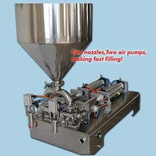 5ML-100ML,with capper electric double nozzles paste and liquid filling machine, filling cream oil chili sauce