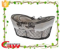 Set of 3 beautiful sundries use handle basket,metal mesh bath sets basket