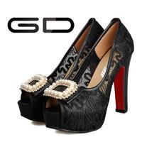 Latest designer lace high heel dress shoes for girls black high heels