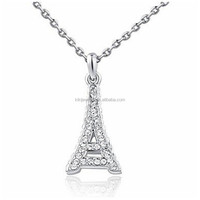 Classic Style 18K Rose/White Gold Plated Crystal Eiffel Tower Pendant Necklace