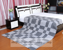 Hot Sale 100 % Cotton/Polyester Dark Blue False Patchwork Printed Quilt