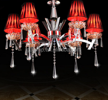 Red shade pendant lamp, iron wire pendant lamp K9 crystal