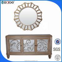 M-1201 Fancy wood window mirror / wood inlay mirror / round wood framed mirrors